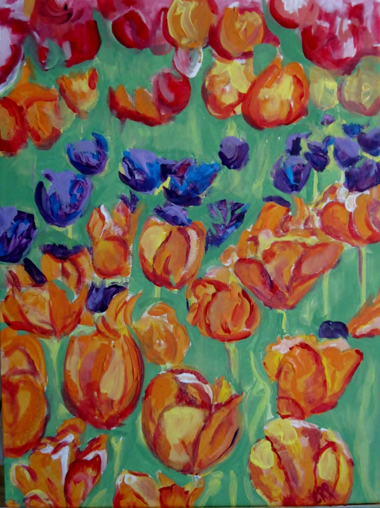 painting flowers - acrylic art