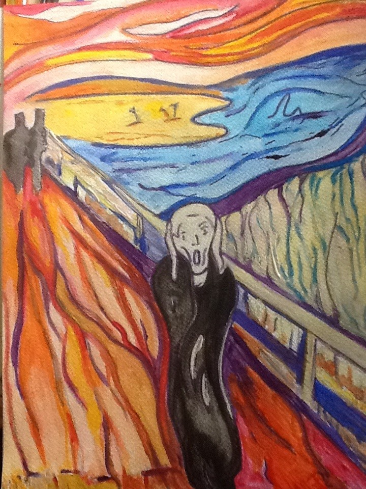 scream painting done by edvard munch english literature essay The scream munch, edvard this last in a series of six paintings exhibited in berlin in  i inherited two of mankind's most dangerous enemies--the.
